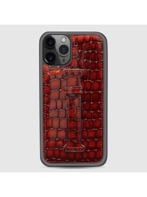 غطاء جوال ايفون 11 برو مع حامل الاصبع  (ميلانو) - بني