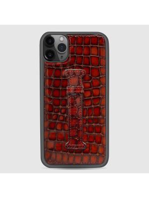 غطاء جوال ايفون 11 برو ماكس مع حامل الاصبع (ميلانو) - بني