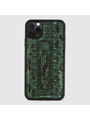 غطاء جوال ايفون 11 برو ماكس مع حامل الاصبع  (بايثون) - اخضر داكن